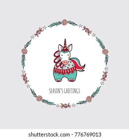 Cute Christmas themed unicorn surrounded by a wreath with stars, leaves, swirls and the words season's greetings, vector illustration.
