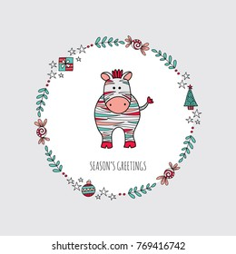 Cute Christmas themed zebra surrounded by a wreath with branches, present, stars, baubles, christmas tree and the words season's greetings, vector illustration.