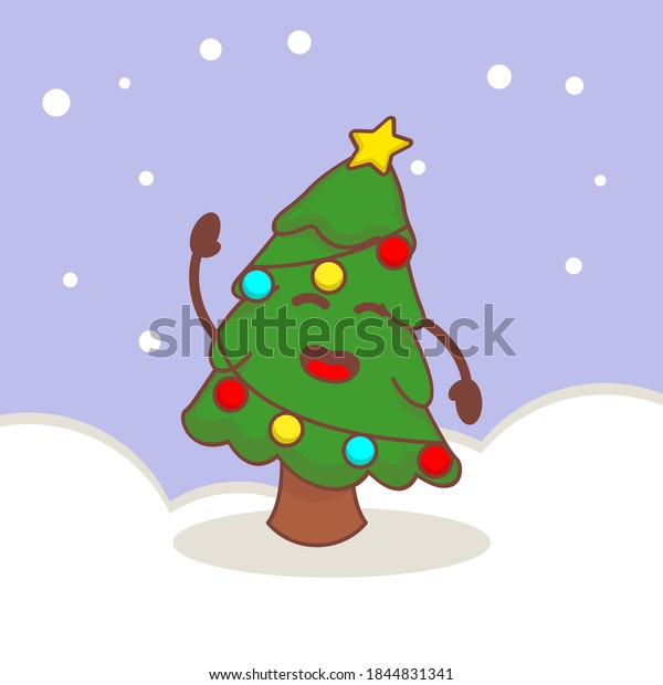 Cute Christmas tree with simple snow background