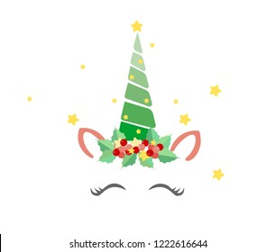 Cute Christmas unicorn vector. Lovely unicorn face with Xmas tree horn and lights.