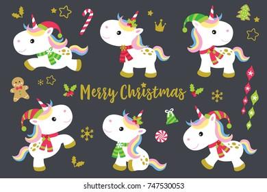 Cute Christmas unicorns vector illustration set plus other decorative Christmas ornaments.