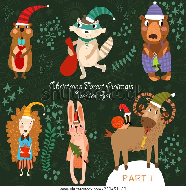 Cute Christmas vector set of  Woodland and Forest Animals.Gopher, bear, hedgehog, wolf, raccoon, goat,snail.Part I (All objects are isolated groups so you can move and separate them)