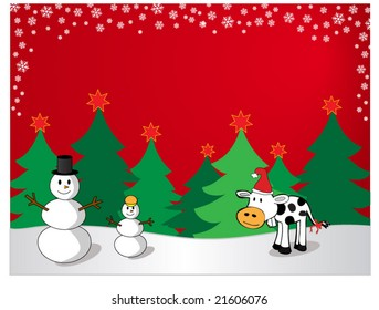 A cute christmas vector with snowmen and a cow