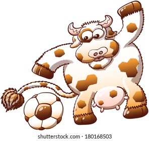 Cute, chubby and furry cow with hexagonal spots while staring at a soccer ball and expressing surprise when noticing the similarity between its own spots and the hexagons of the ball