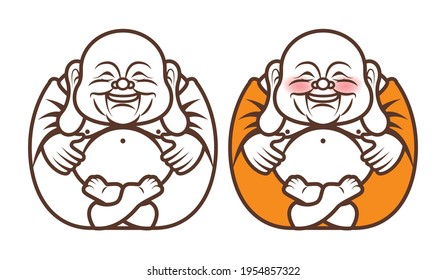 Cute Chubby Happy The Laughing Buddha character with big belly brings happiness and wealth. Religion - vector cartoon