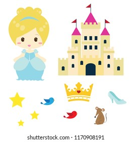 A cute Cinderella vector illustrations with mouse, glass slipper, bird, crown and castle. Suitable for kid's birthday party supplies design