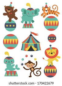 cute circus animals collection. vector illustration