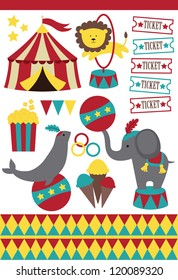 cute circus elements collection. vector illustration