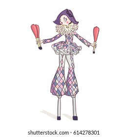 Cute circus girl on stilts, dressed as a harlequin. Juggling play with pins. Vector illustration isolated on white background.