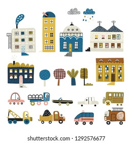Cute city constructor- old and modern buildings, cars and trees. Childish style.