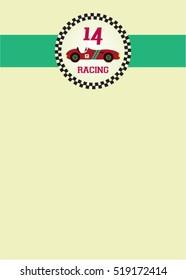 cute classic racing car greeting card