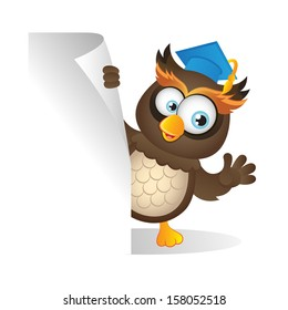 Cute clever Owl holding a wooden placard (VECTOR)