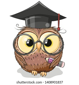 Cute Clever owl with pencil and in graduation cap