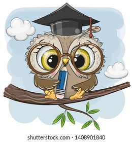 Cute Clever owl with pencil and in graduation cap sitting on a branch