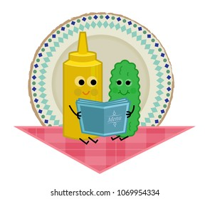 Cute clip art of pickle and mustard sitting on a tablecloth and holding a menu. Eps10