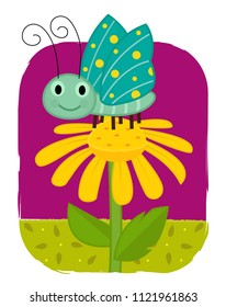 Cute clip-art of a butterfly standing on a yellow flower. Eps10