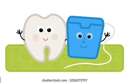 Cute clip-art of a happy tooth and floss standing together. Eps10