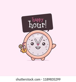 Cute clock cartoon character holding cocktail shouting happy hour vector kawaii illustration