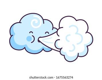 Cute cloud blowing wind. Cartoon character. Vector illustration.