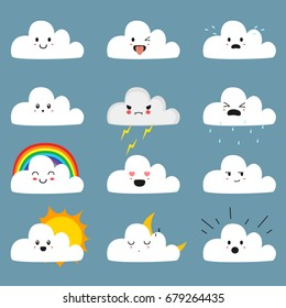 cute cloud emojis vector collection, with different expressions.