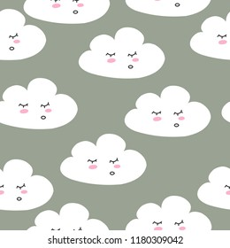 Cute. The Cloud. Seamless pattern. For print on postcard. Confession. child. Scandinavian style. For your design.