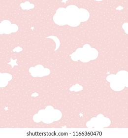 Cute Cloud Seamless Pattern Vector background