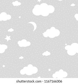 Cute Cloud Seamless Pattern Vector background