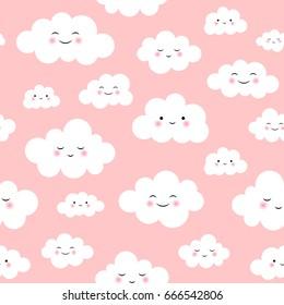 Cute Cloud Seamless Pattern Vector