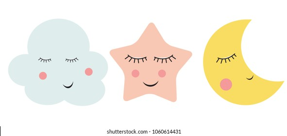 Cute Cloud, Star and Moon  Vector Illustration EPS10