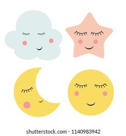 Cute Cloud, Star and Moon  Vector Illustration EPS10