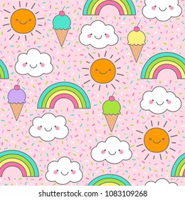 Cute cloud, sun, rainbow and ice cream seamless pattern with colorful sprinkles background