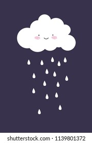 cute cloud. vector illustration. card for kids.