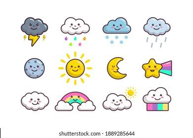 Cute Cloud Weather, Sun, Moon, Star, Planet And Rainbow