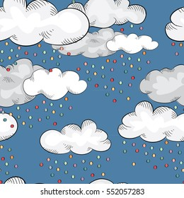 Cute clouds with colorful raindrops in the sky. Vector illustration on blue background. Seamless pattern