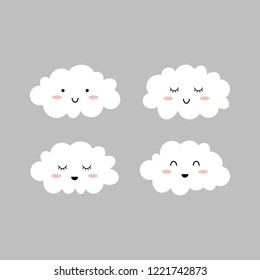 Cute clouds. Isolated on grey. Cloud icons. Vector