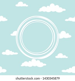 Cute clouds ornament with white shabby round frameon powder blue background. Cartoon wallpaper, good for card. Vector illustration. Funny nature  backdrop.