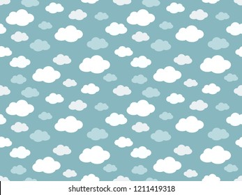Cute Clouds Pattern. Endless Vector.