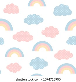 Cute clouds and rainbow seamless pattern, cartoon vector illustration, isolated sky background for kid