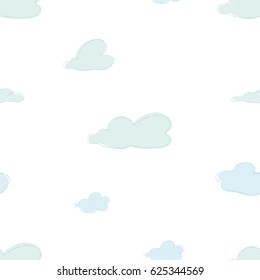 Cute Clouds Seamless Pattern Vector Design