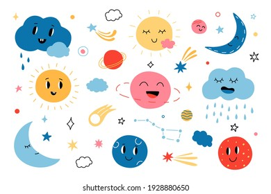 Cute clouds and Suns. Cartoon funny Sun, planets, stars and clouds for baby greeting cards. Vector childish isolated set