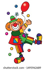 Cute clown with a balloon. Colored vector for card or gift.