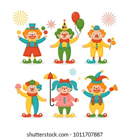 Cute clown character design set. Birthday or carnival party invitation. Vector illustration