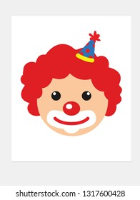Cute clown face. Vector illustration.
