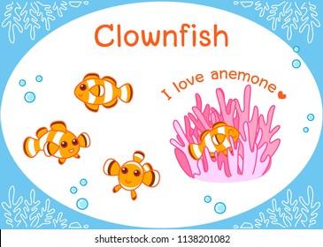 Cute Clown fish, Cartoonfish set Illustration of aquarium fish isolated on a white background.