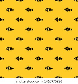 Cute clown fish pattern seamless vector repeat geometric yellow for any design