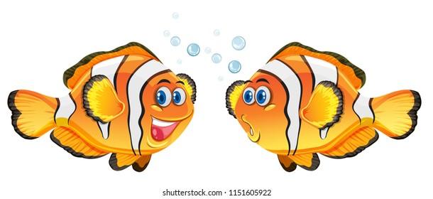 Cute clownfish on white background illustration