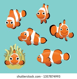 Cute Clownfish Various Poses Cartoon Vector