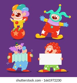 Cute clowns vector cartoon characters set isolated on a white background.