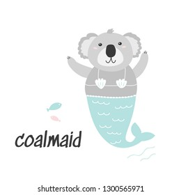 Cute Coala Mermaid illustration. Cartoon character.