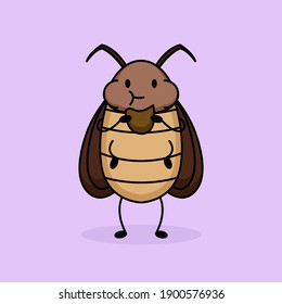 Cute cockroach animal mascot logo design